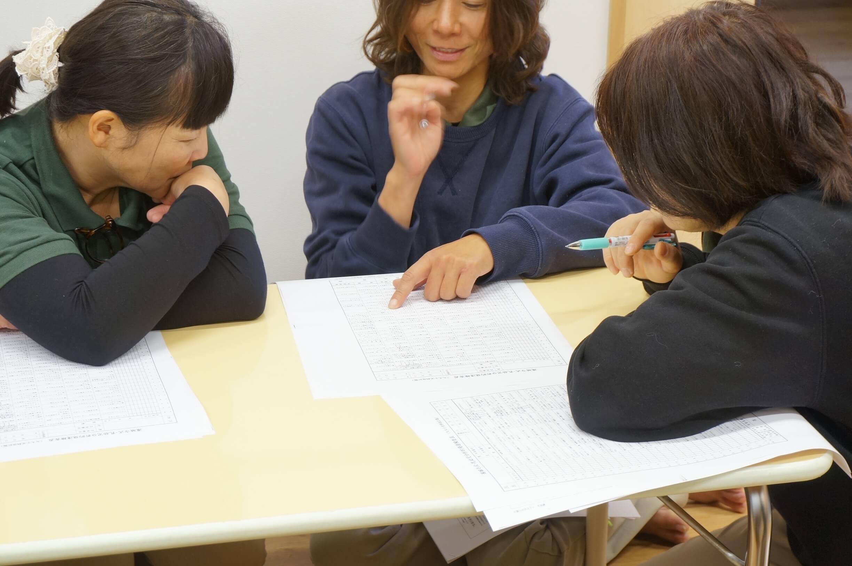 発達検査の用紙を見ながら話し合う保育士たち
