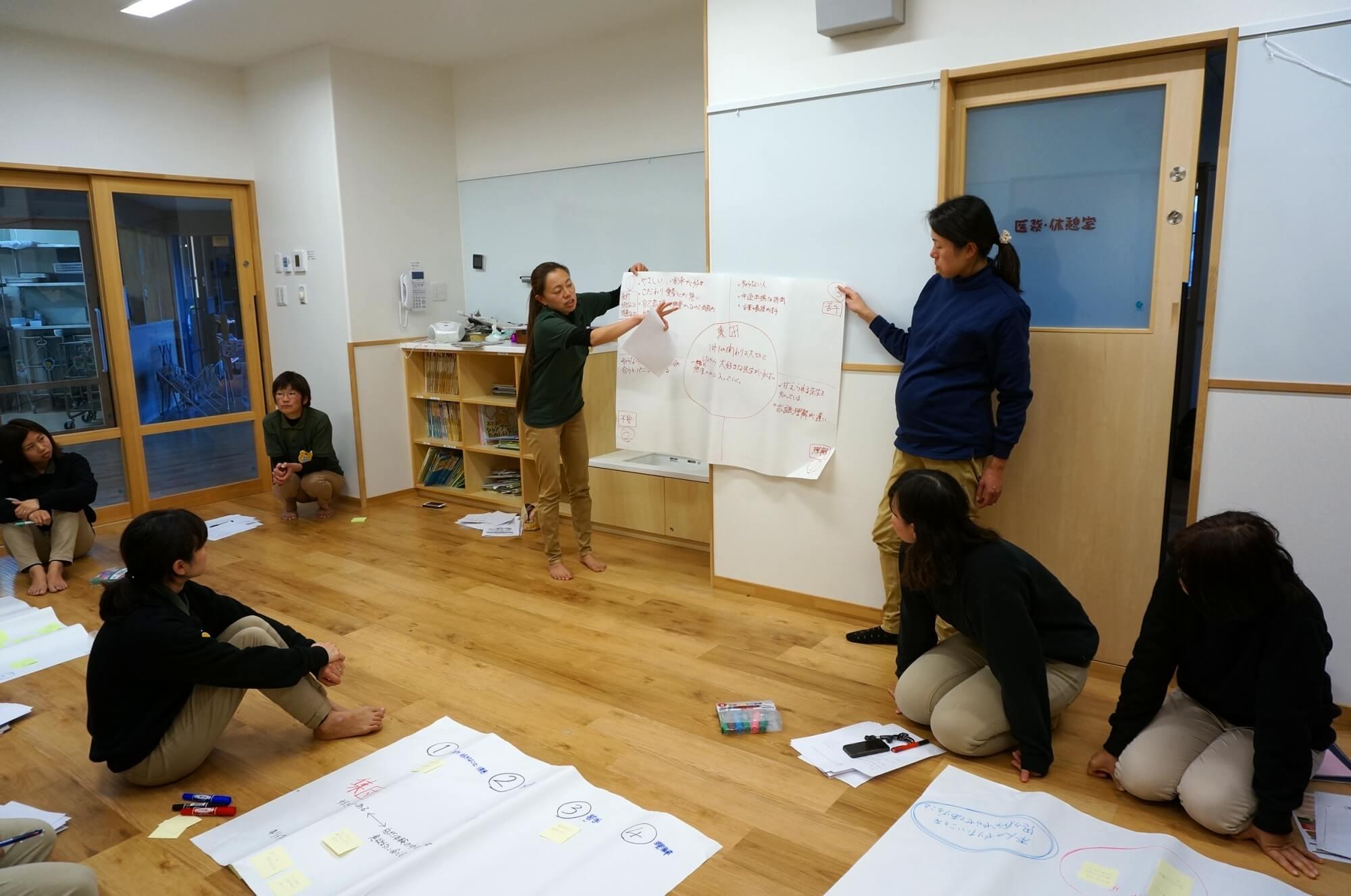グループワークの発表をする職員たち