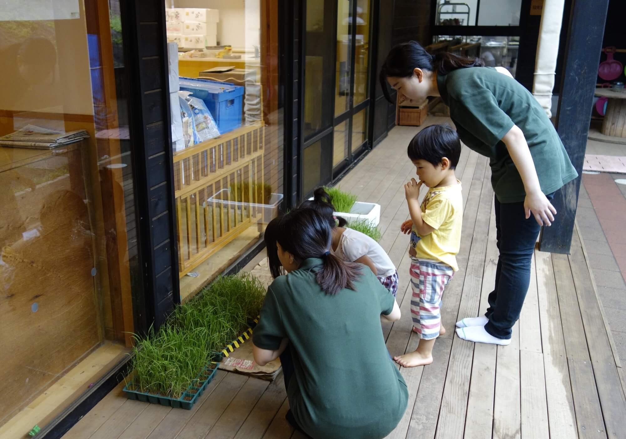 園児と話をする保育学生