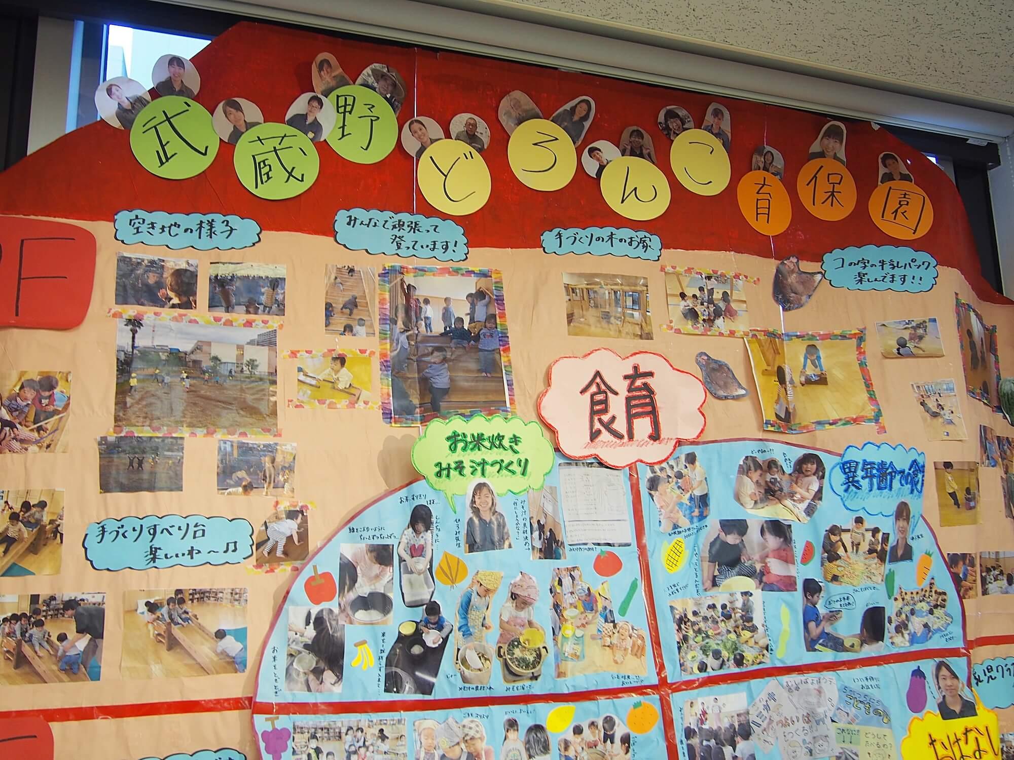 写真に収まりきらない大きな資料を作成した武蔵野どろんこ保育園
