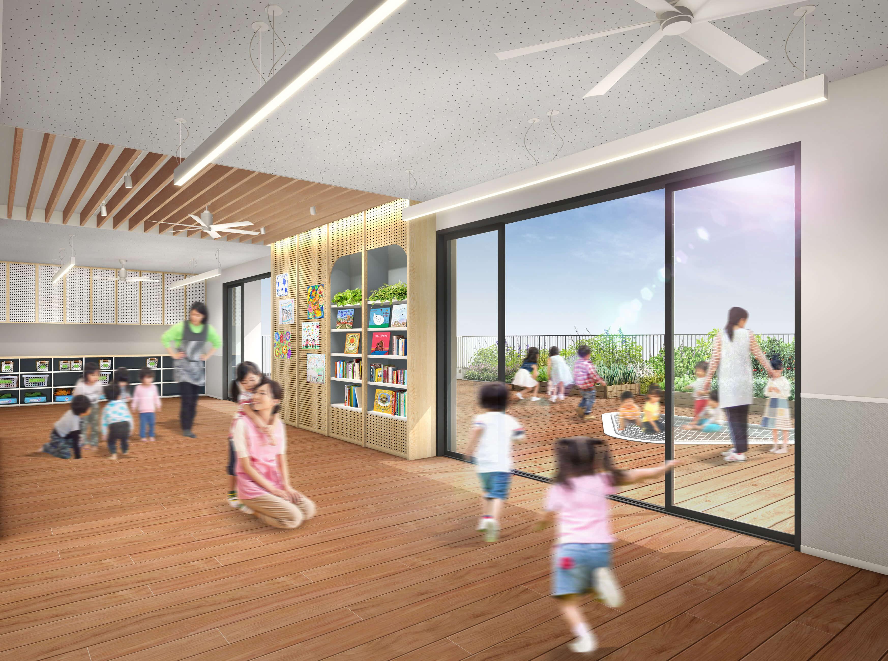4階保育室(イメージ)。屋内とテラスが一続きに感じられる