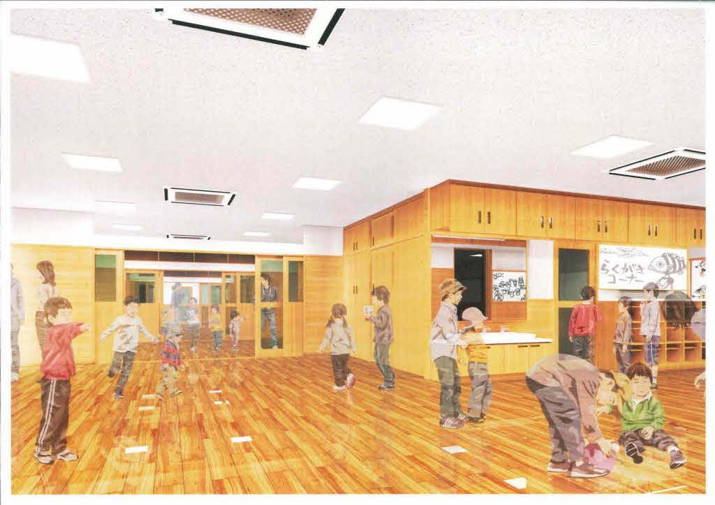 保育室内のイメージ。無垢の木の床と木調の壁が温かい雰囲気を醸し出している