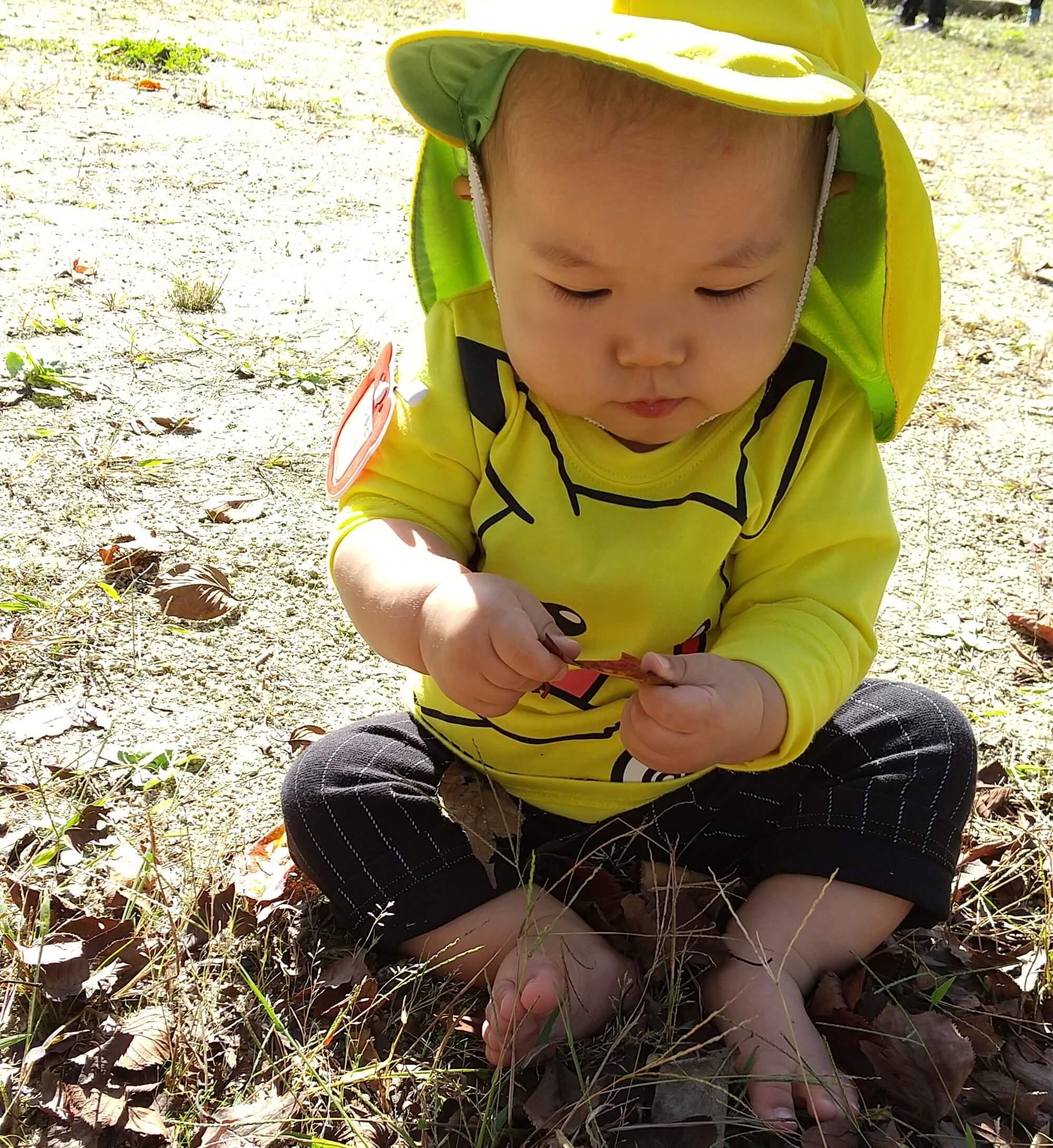 落ち葉に興味を持つ子ども