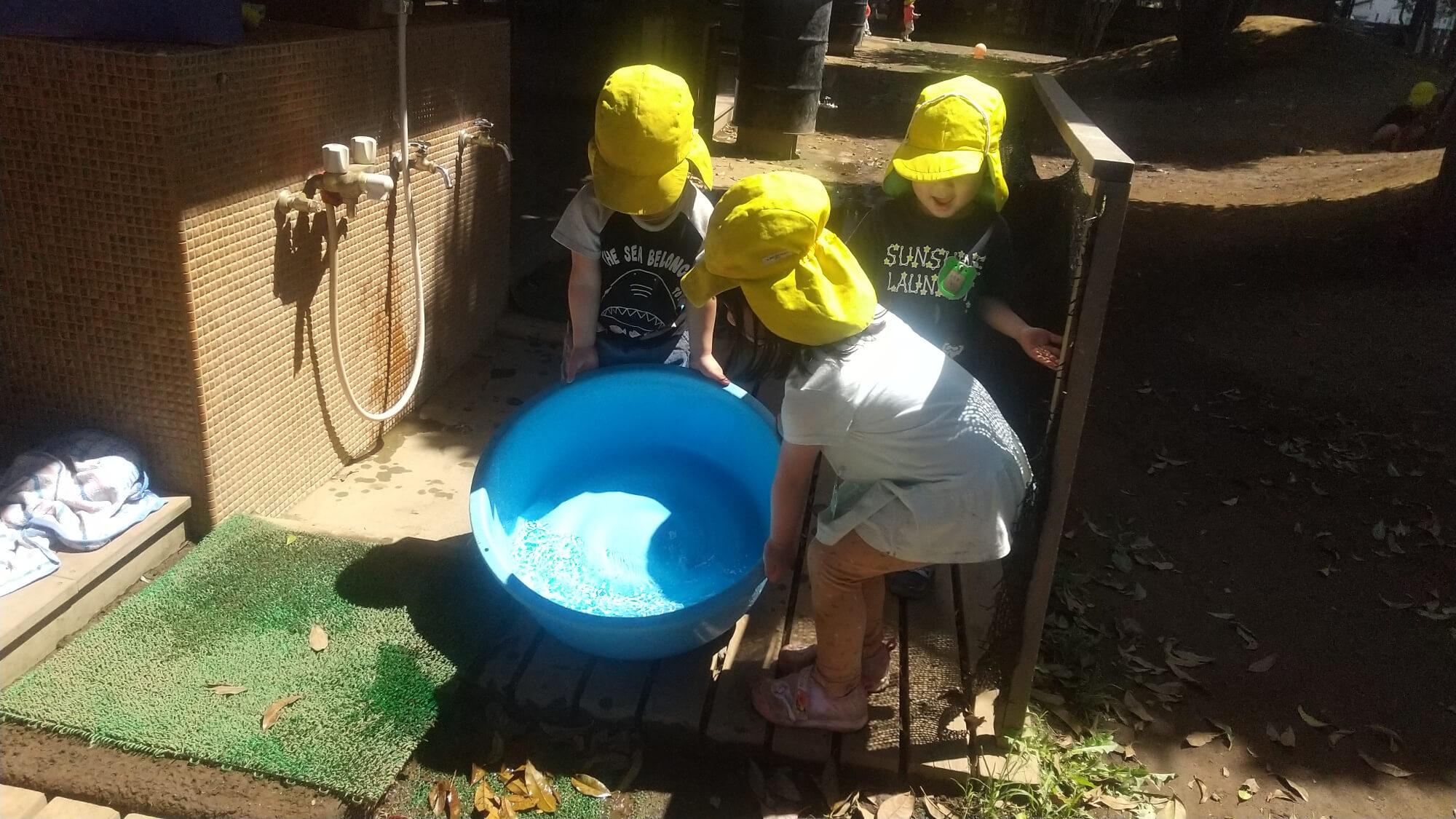 たらいに水を入れる子ども