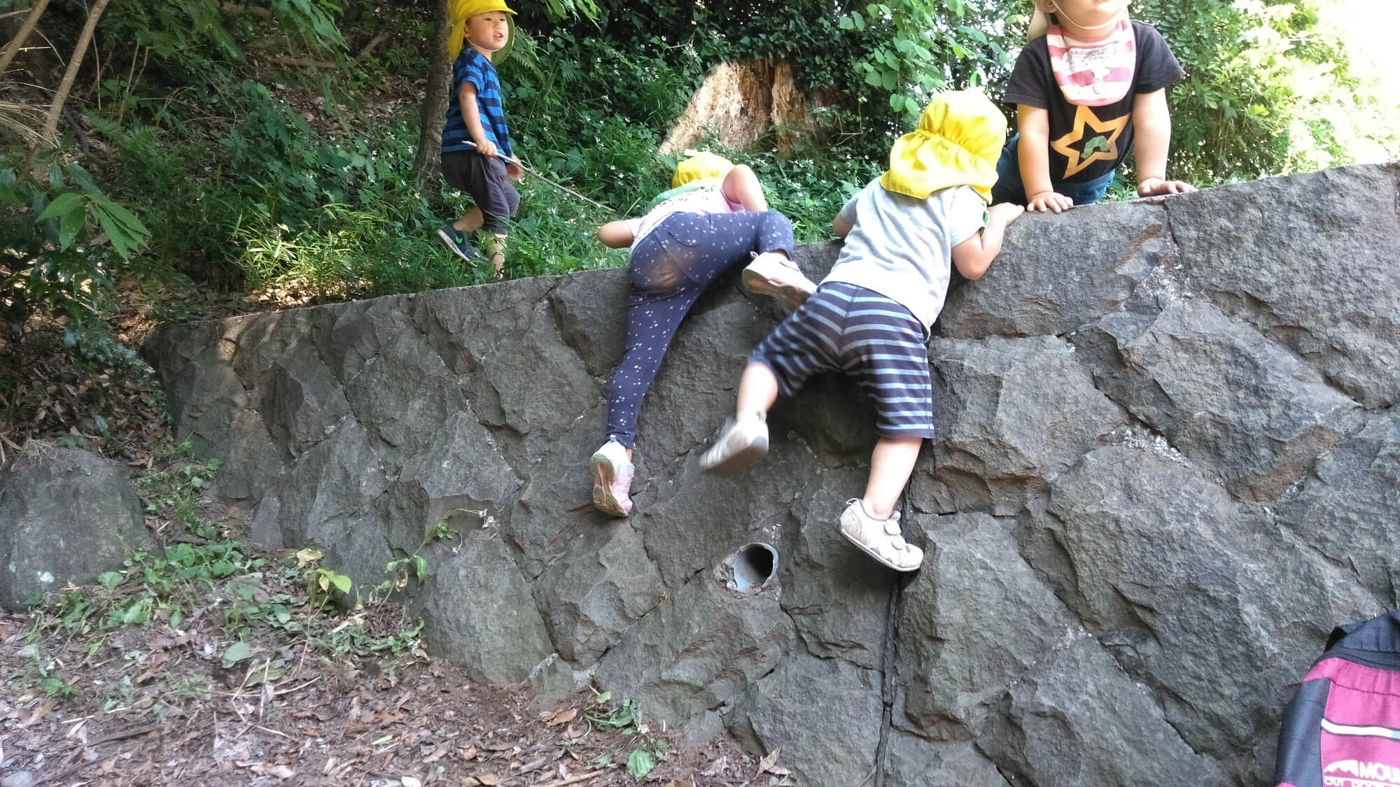 塀をよじ登る子どもたち