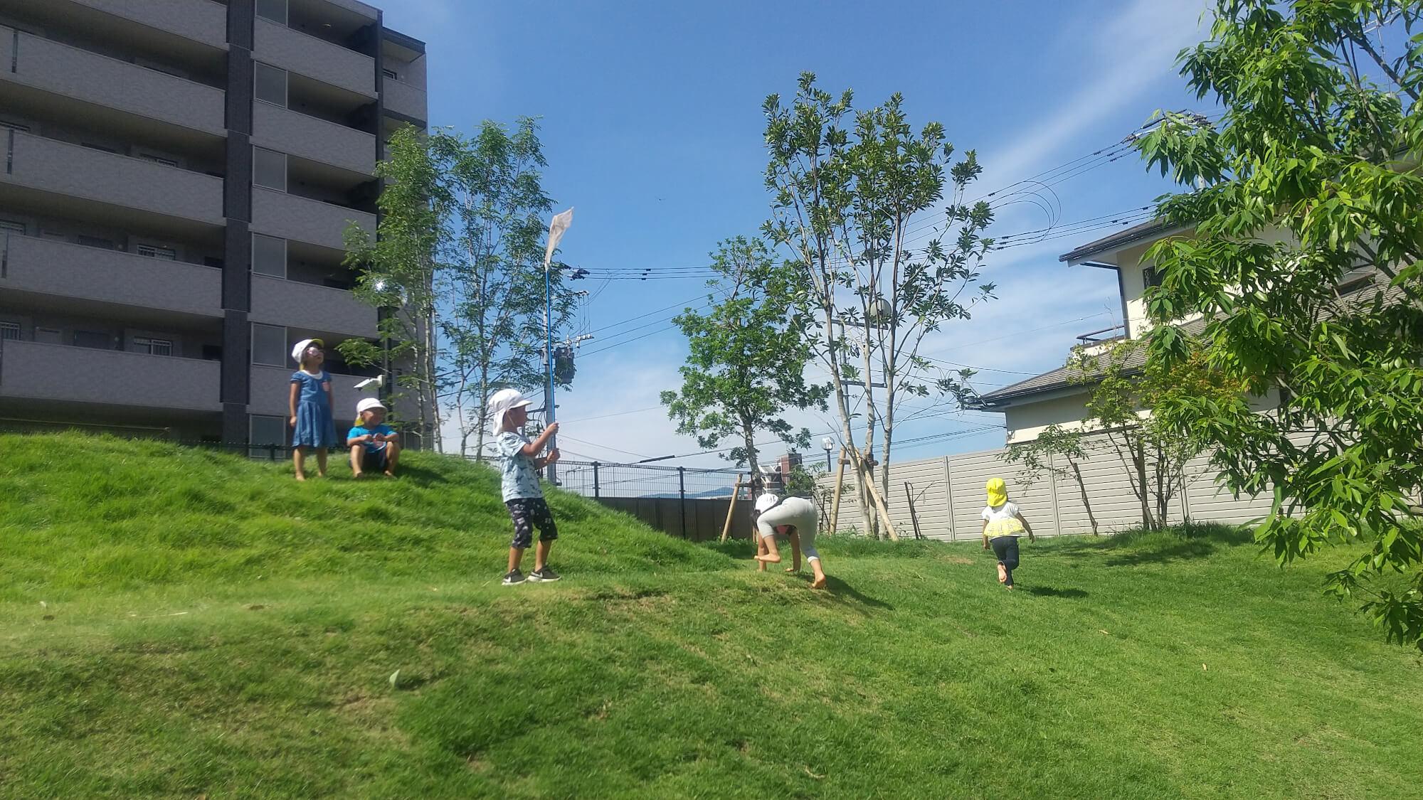 園庭の築山で遊ぶ子どもたち