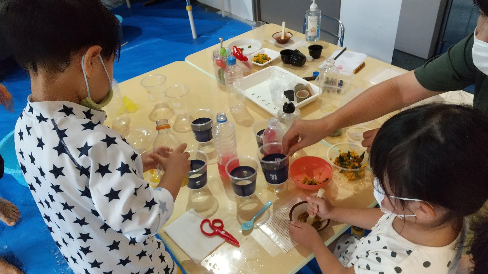 食紅から色水を作る子どもたち