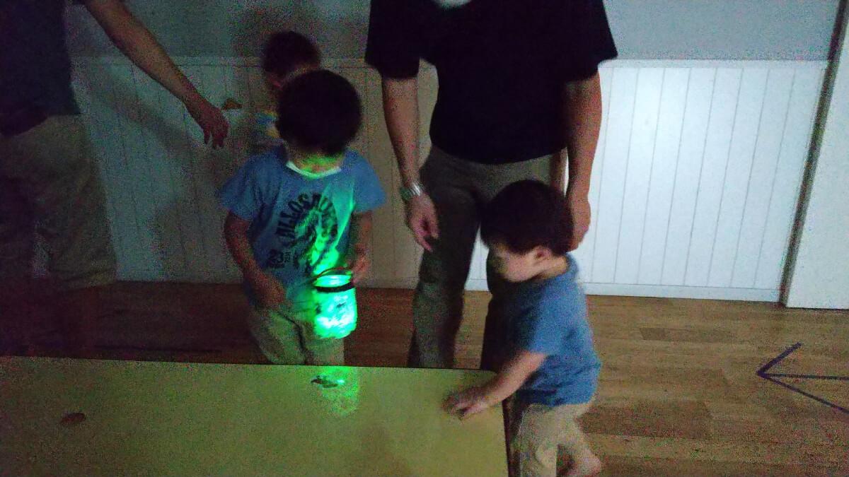 光を楽しむ子どもたち