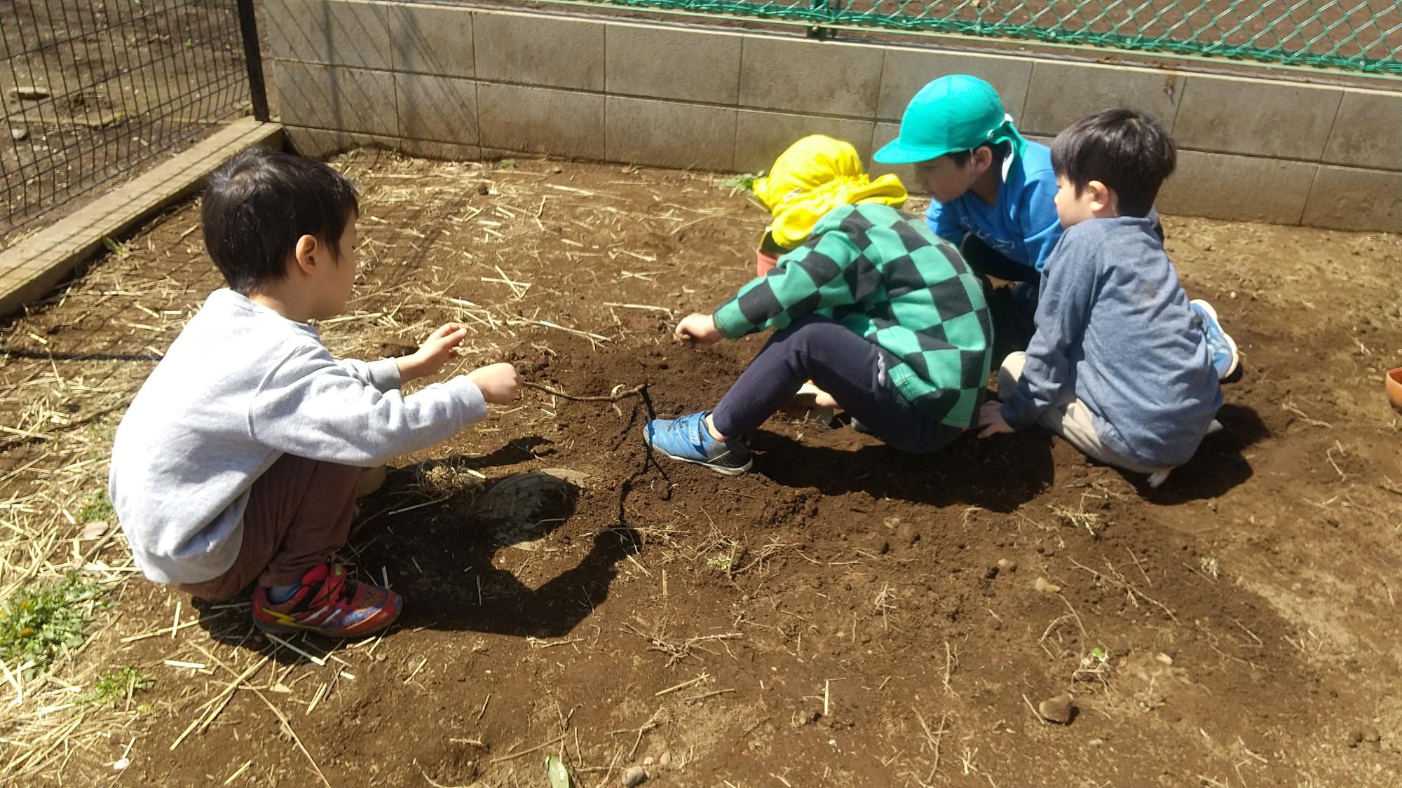 園庭で友だち同士で遊ぶ子どもたち